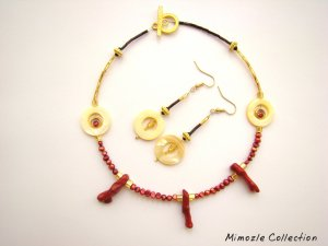 RED PEARL & CORAL BRANCH CHOKER NECKLACE & EARRING SET