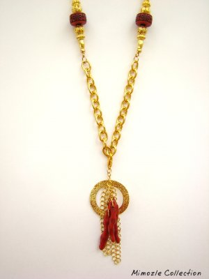 RED SPONGE CORAL CHARM with VINTAGE STYLE LONG NECKLACE