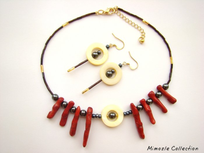 RED CORAL & METALLIC CHOKER NECKLACE & EARRINGS SET