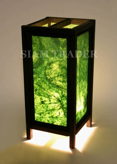 GREEN REAL LEAF THAI SAA PAPER HANDMADE WOODEN LAMP