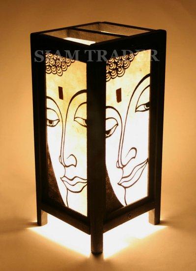 WHITE FACE OF BUDDHA GOLD LEAF THAI SAA PAPER WOOD LAMP