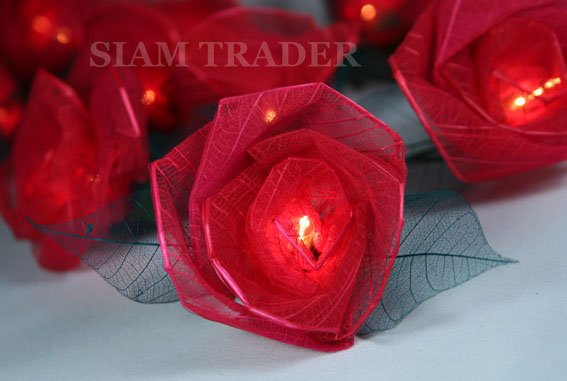 35 Bulb Red Rose Flower Party / Christmas String Lights