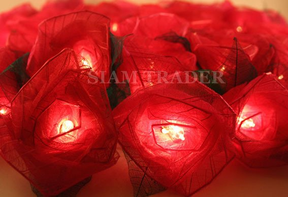 4 Sets of Red Rose Flower Party / Christmas String Lights