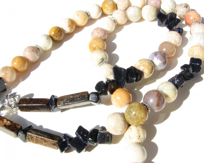 Coral Fossil White/Yellow Tones  Blue Goldstone Chips  Brown Bronzite Handmade Artisan Necklace