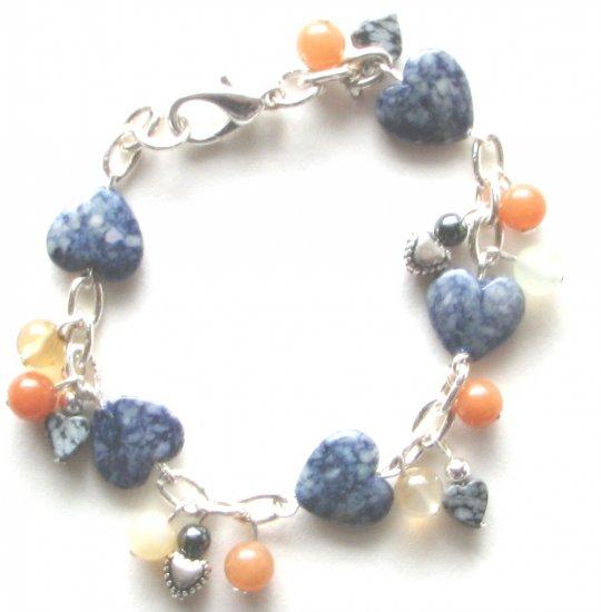 Blue Hearts Handmade Artisan Charm Bracelet Fossil Coral,Obsidian, Silverplated