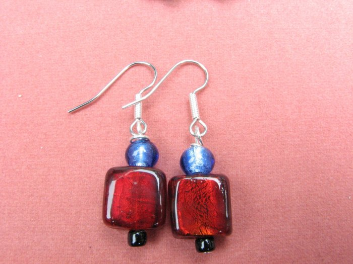 Simply Red Blue and Black Glass Earrings