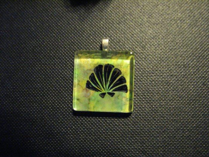 Seashell on Ocean Colors Handmade Glass TIle Pendant