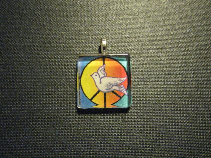 Peace Symbol and Dove Handmade Glass Tile Pendant