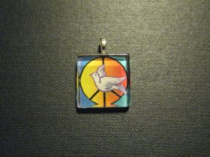 Peace Symbol and Dove Handmade Glass Tile Pendant