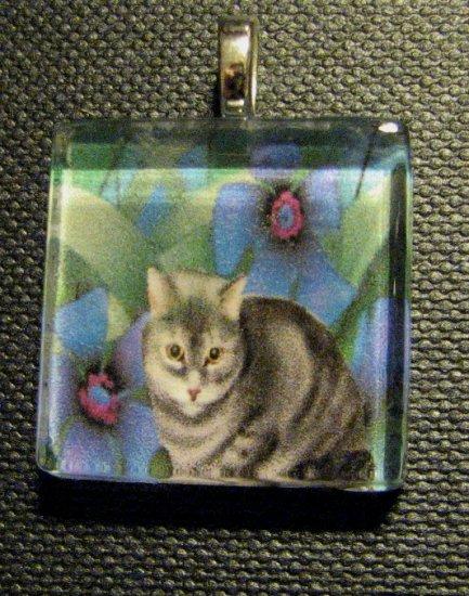 Cat with Purple Flowers Handmade Glass Tile Pendant