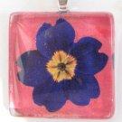 Blue Primrose Handmade Glass Tile Pendant