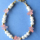White Freshwater Pearls with Pink Quartz Chips Handmade Bracelet