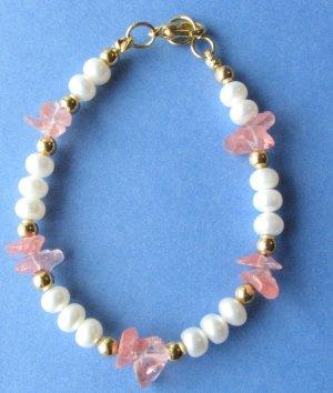 White Freshwater Pearls with Pink Quartz Chips Handmade Bracelet