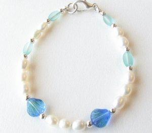 White Freshwater Pearls with Blue Green Seashells Handmade Bracelet