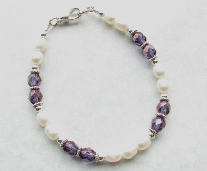 White Freshwater Pearls with Purple Amethyst  Glass  Handmade Bracelet