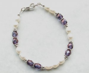 White Freshwater Pearls with Purple Amethyst  Glass  Handmade Bracelet