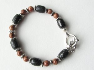 Black with Silver Streak and Caramel Fossil Coral Handmade Bracelet