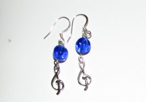 Treble Clef with Blue Melon Glass Handmade Earrings