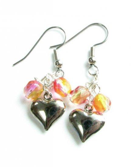 Puffed Heart Drop Handmade Earrings with Pink Yellow Beads