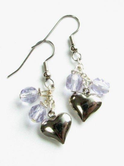 Puffed Heart Drop Handmade Earrings with Purple Lilac Beads