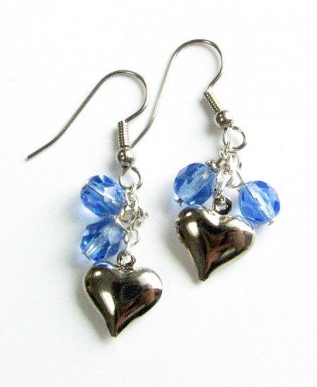 Puffed Heart Drop Handmade Earrings with Blue  Beads