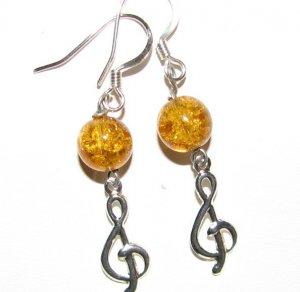 Treble Clef with Honey Crackle Glass Handmade Earrings