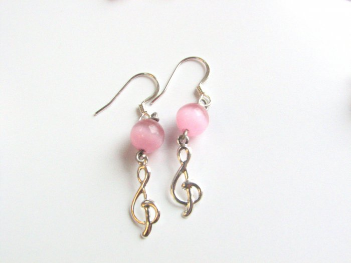 Treble Clef with Pink Cats Eye Bead Handmade Earrings
