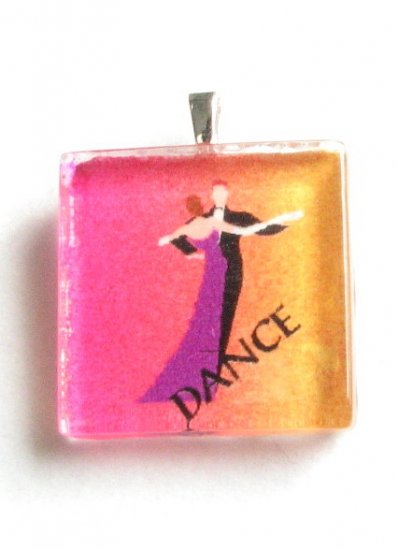 Ballroom Dance Couple on Orange Yellow Pink Background Handmade Glass Tile Pendant