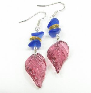 Glass Twist Leaf Handmade Earrings in  Rose with Blue and Honey