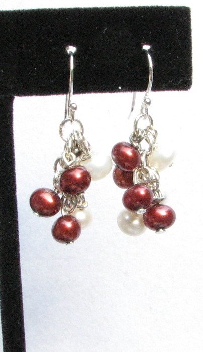 Cranberry and White Freshwater Pearl Cluster Handmade Artisan Earrings Sterling Silver Wires