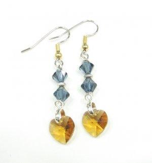 Golden Honey Hearts with Montana Blue Crystal Swarovski  Handmade Earrings