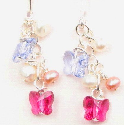 Swarovski Butterfly and Freshwater Pearl Handmade Artisan Cluster Earrings