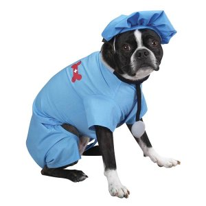 X-SMALL ER Doctor Dog Costume Hospital Style Pet Scrubs for Halloween