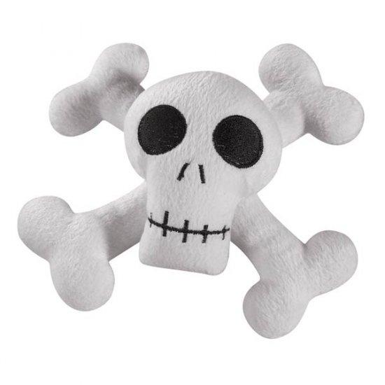 Zanies Kooky Spooky Skull & Cross Bones Laughing Plush Dog Toy - Medium