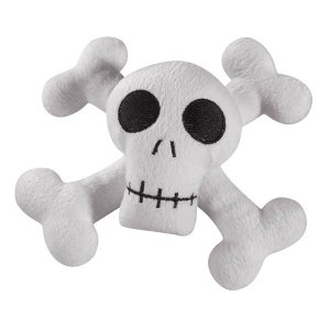 Zanies Kooky Spooky Skull & Cross Bones Laughing Plush Dog Toy - Medium