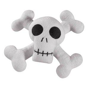 Zanies Kooky Spooky Skull & Cross Bones Laughing Plush Dog Toy - Large