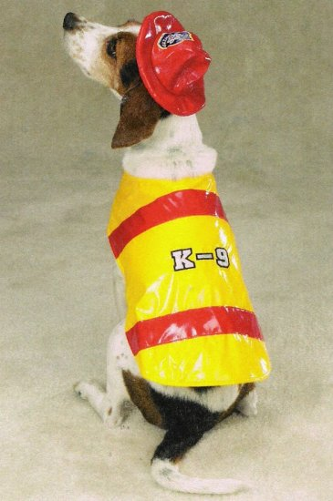 X-LARGE Fire Chief  Pup Halloween Pet Costume Fireman's Dog hat and jacket