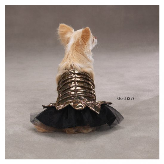 X-SMALL Princess Dress Halloween Dog Costume Gold