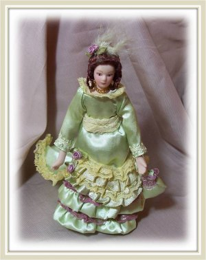 """1:12 Doll House   """"Grace"""" Collectible Miniature Doll+Handbag  with FREE STAND"""