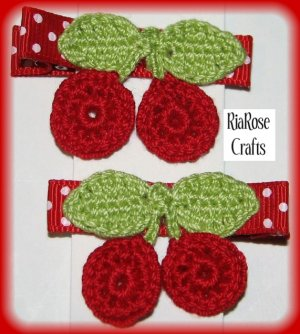 Pair Of Red Crocheted Cherry Hair Clip For Baby/Toddler