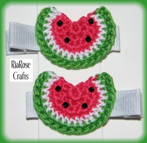 Pair Of Crocheted Hot Pink Watermelon Hair Clips For Baby/Toddler
