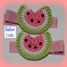 Pair Of Pretty Pink Crocheted Watermelon Hair Clips For Baby/Toddler