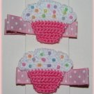 Pair Of Crocheted Pink/White Top Cupcake Hair Clips For Baby/Toddler