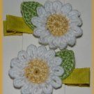 Pair Crocheted White Daisy Flower Hair Alligator Clips For Baby/Toddler