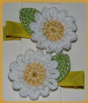 Pair Crocheted White Daisy Flower Hair Alligator Clips For Baby/Toddler