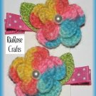 Pair Crocheted Multicolor Flower Hair Alligator Clips For Baby/Toddler