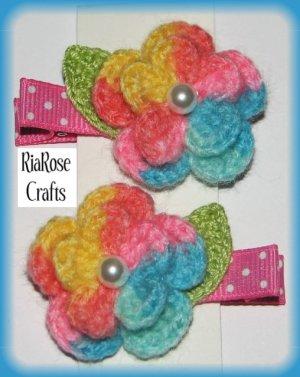 Pair Crocheted Multicolor Flower Hair Alligator Clips For Baby/Toddler