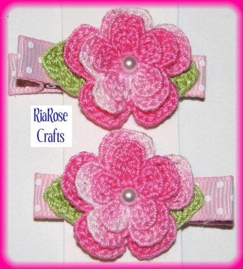 Pair Crocheted Variegated Pink Flower Hair Alligator Clips For Baby/Toddler