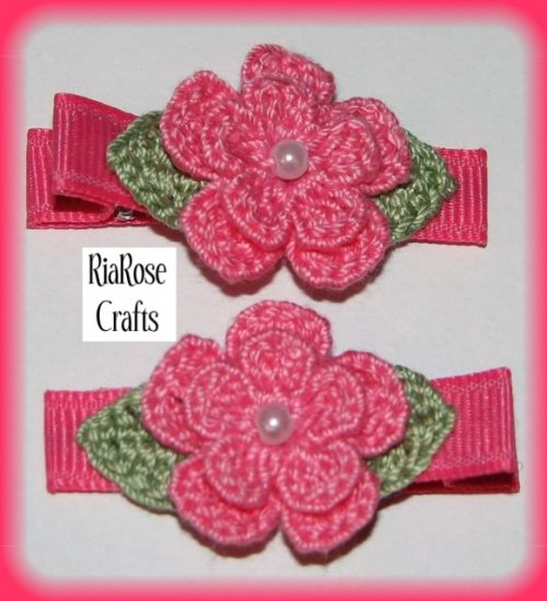 Pair Crocheted Hot Pink Flower Hair Alligator Clips For Baby/Toddler