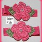 Pair Crocheted Hot Pink Flower Hair Alligator Clips For Baby/Toddler